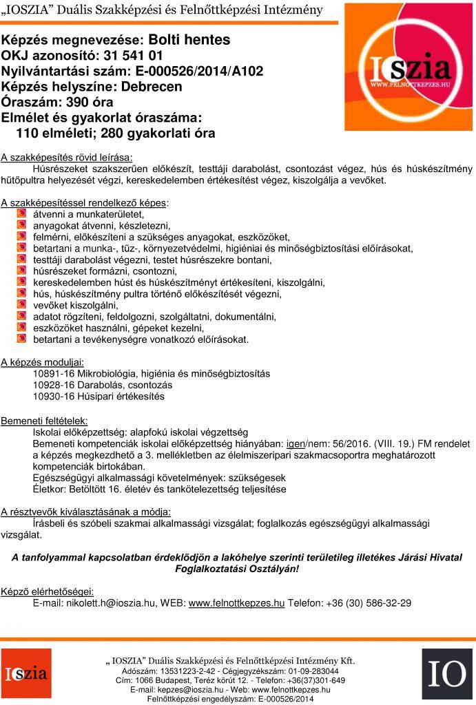 Bolti hentes OKJ - Debrecen - Felnőttképzés -felnottkepzes.hu - IOSZIA