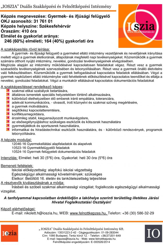 Gyermek- és ifjúsági felügyelő - székesfehérvár - OKJ - IOSZIA felnőttképzés