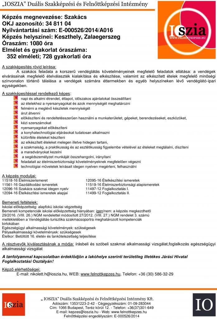 Szakács OKJ - Keszthely - Zalaegerszeg - felnottkepzes.hu - Felnőttképzés - IOSZIA