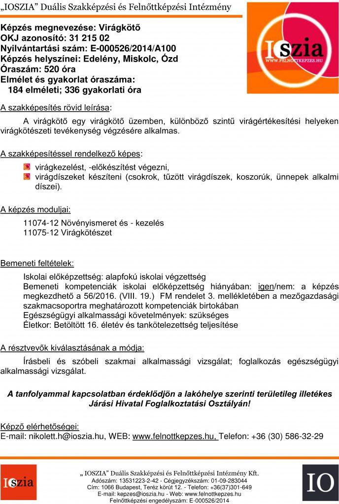 Virágkötő OKJ - Edelény - Miskolc - Ózd - felnottkepzes.hu - Felnőttképzés - IOSZIA
